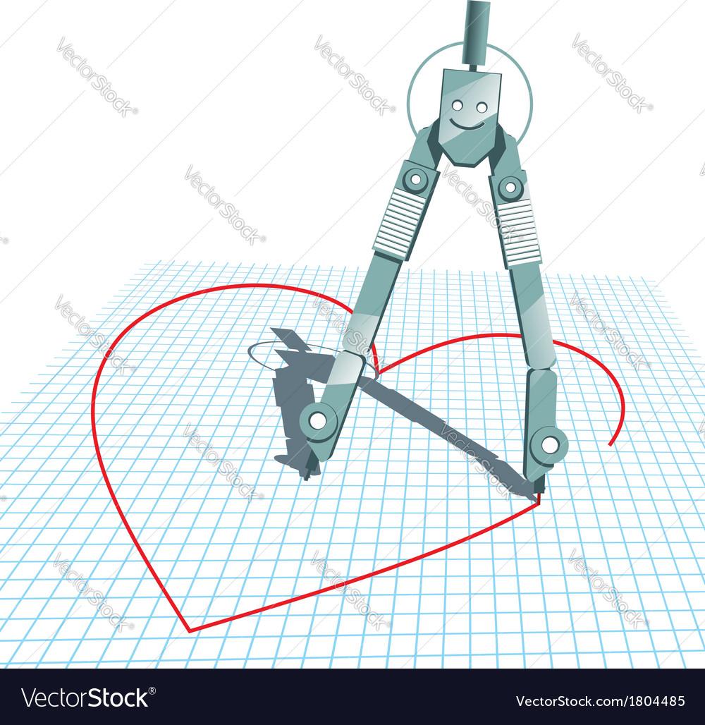 Compasses in love vector | Price: 1 Credit (USD $1)