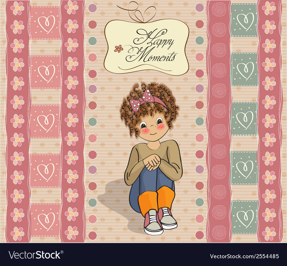Curly girl in the happy moment vector | Price: 1 Credit (USD $1)
