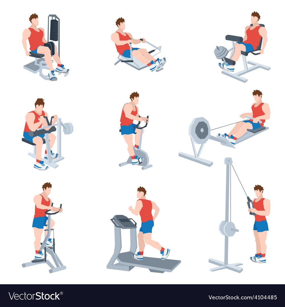 Exercise machines set vector | Price: 1 Credit (USD $1)