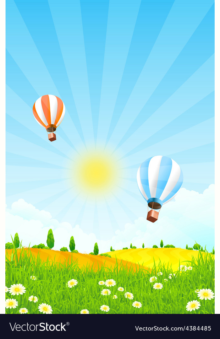 Landscape with trees and hot air balloon vector | Price: 3 Credit (USD $3)