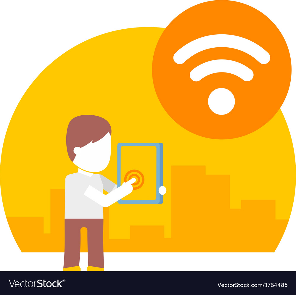Man uses wi fi on his tablet vector | Price: 1 Credit (USD $1)