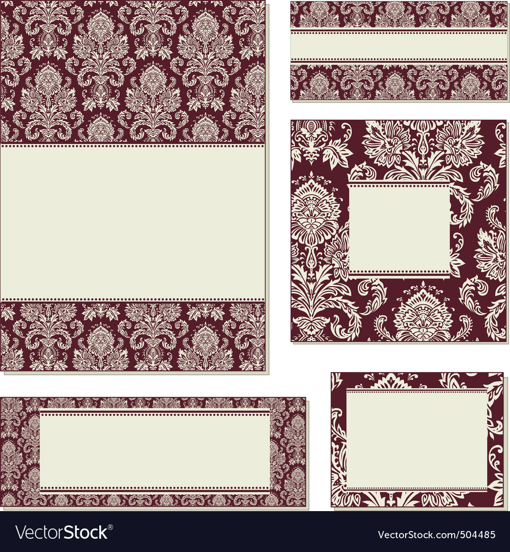 ornate damask frame set vector | Price: 1 Credit (USD $1)
