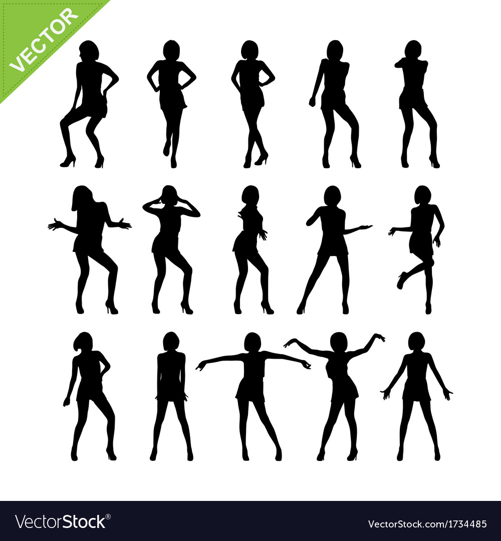Sexy women adn dancing silhouettes vector | Price: 1 Credit (USD $1)