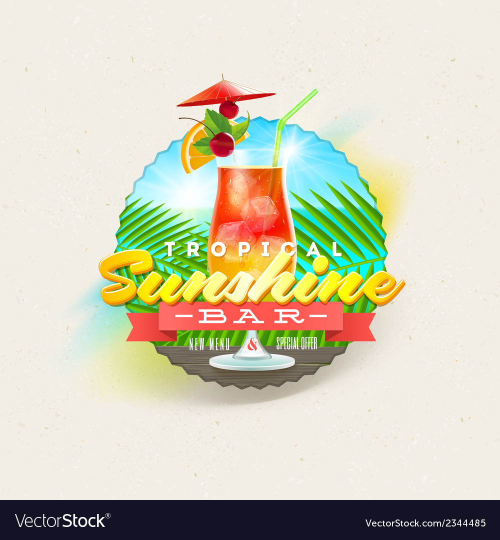 Tropical summer type design with cocktail vector | Price: 1 Credit (USD $1)