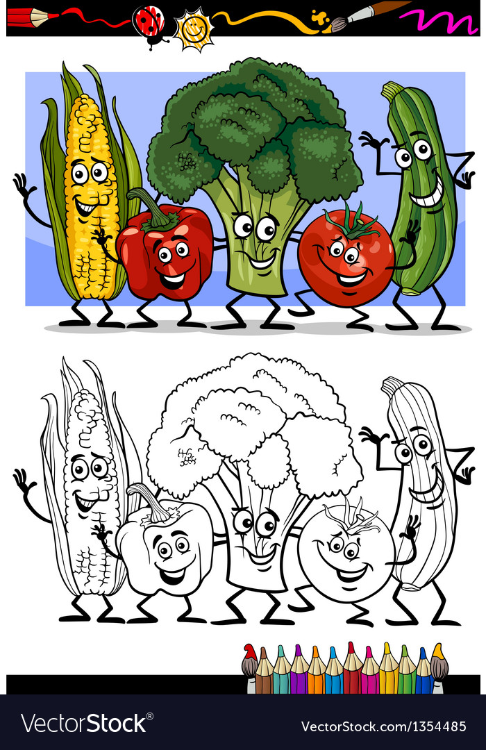 Vegetables comic group for coloring book vector | Price: 1 Credit (USD $1)