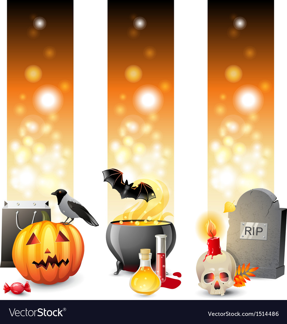 3 halloween banners vector | Price: 3 Credit (USD $3)