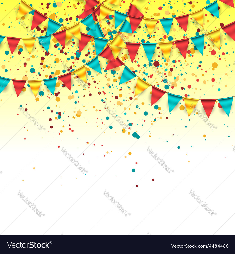 Birthday background with colorful garlands vector | Price: 1 Credit (USD $1)