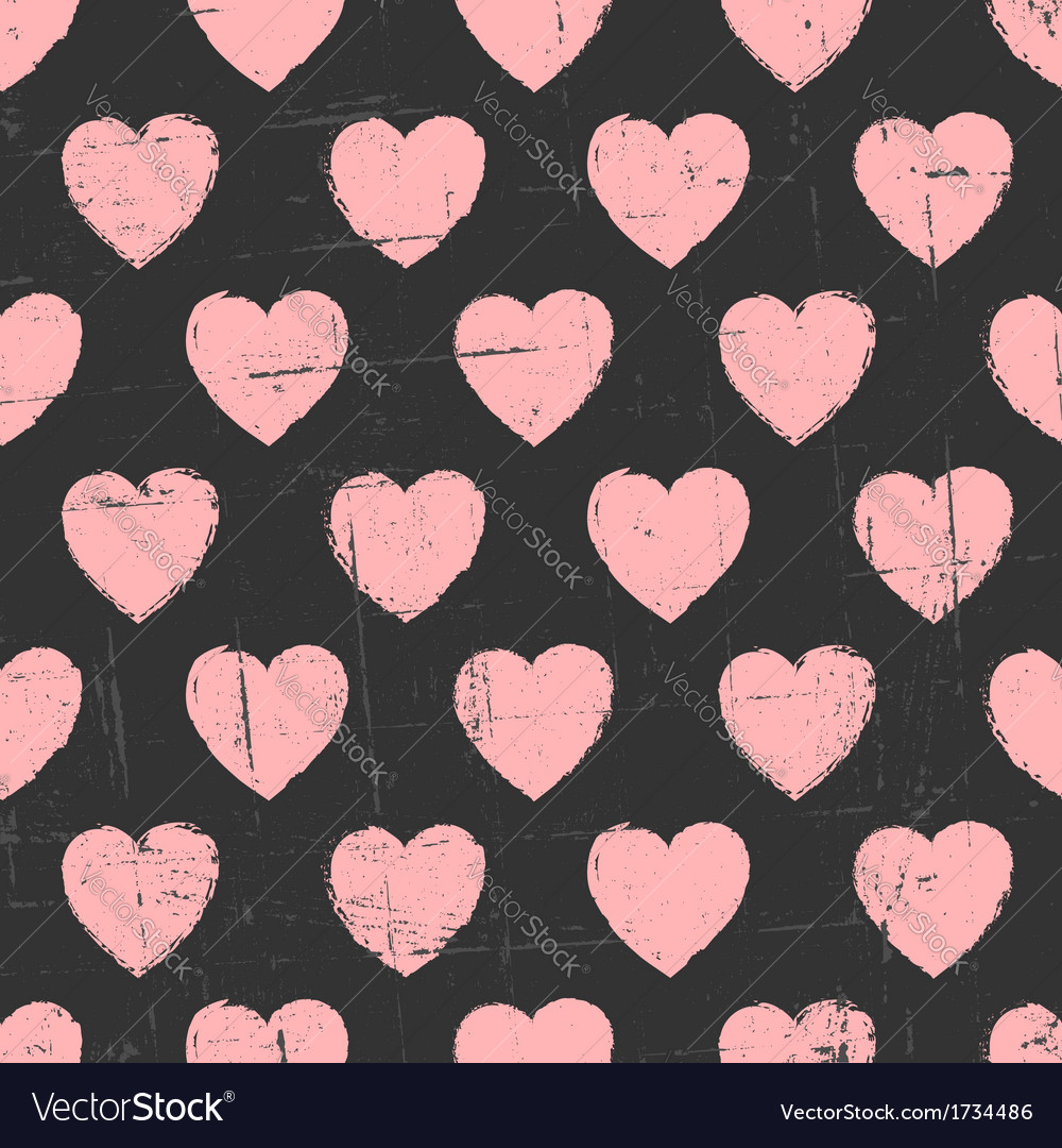 Chalkboard style seamless hearts vintage pattern vector | Price: 1 Credit (USD $1)