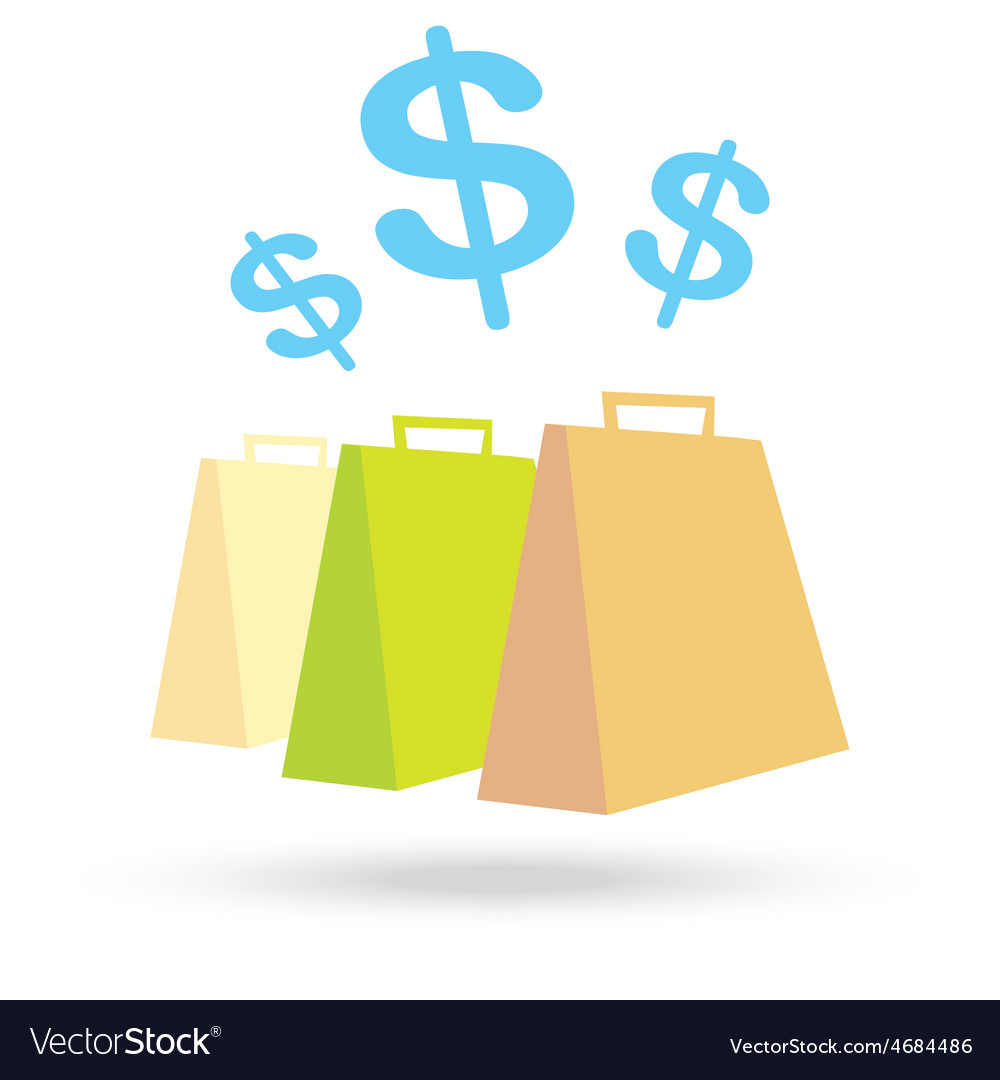 Color paper shopping bags and money icon isolated vector | Price: 1 Credit (USD $1)