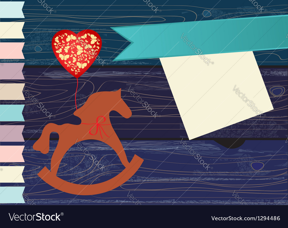 Decorative rocking horse greeting card vector | Price: 1 Credit (USD $1)
