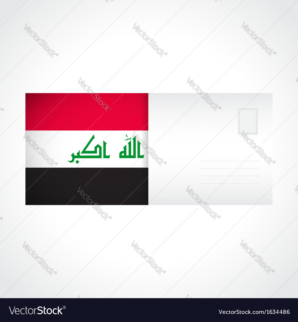 Envelope with iraqi flag card vector | Price: 1 Credit (USD $1)