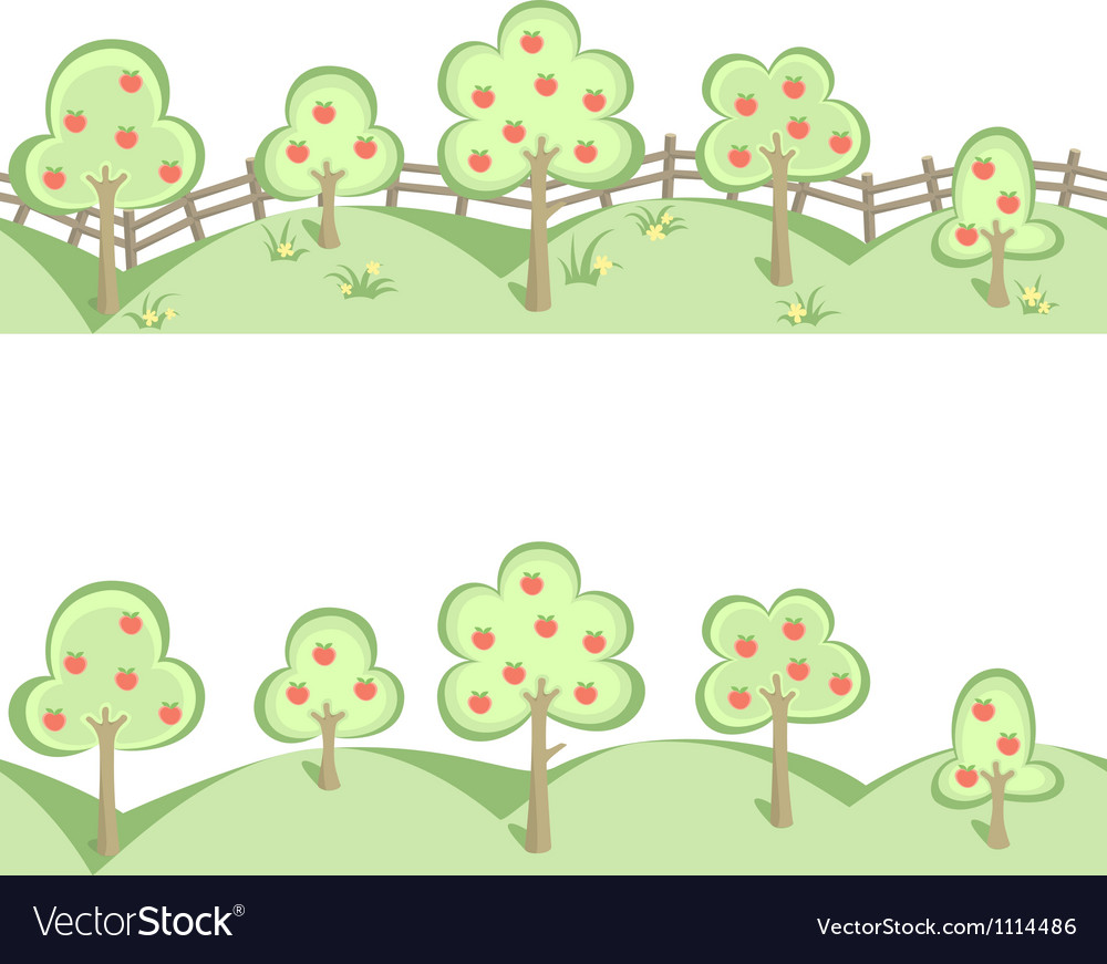 Fruit trees in horizontal seamless border vector | Price: 1 Credit (USD $1)