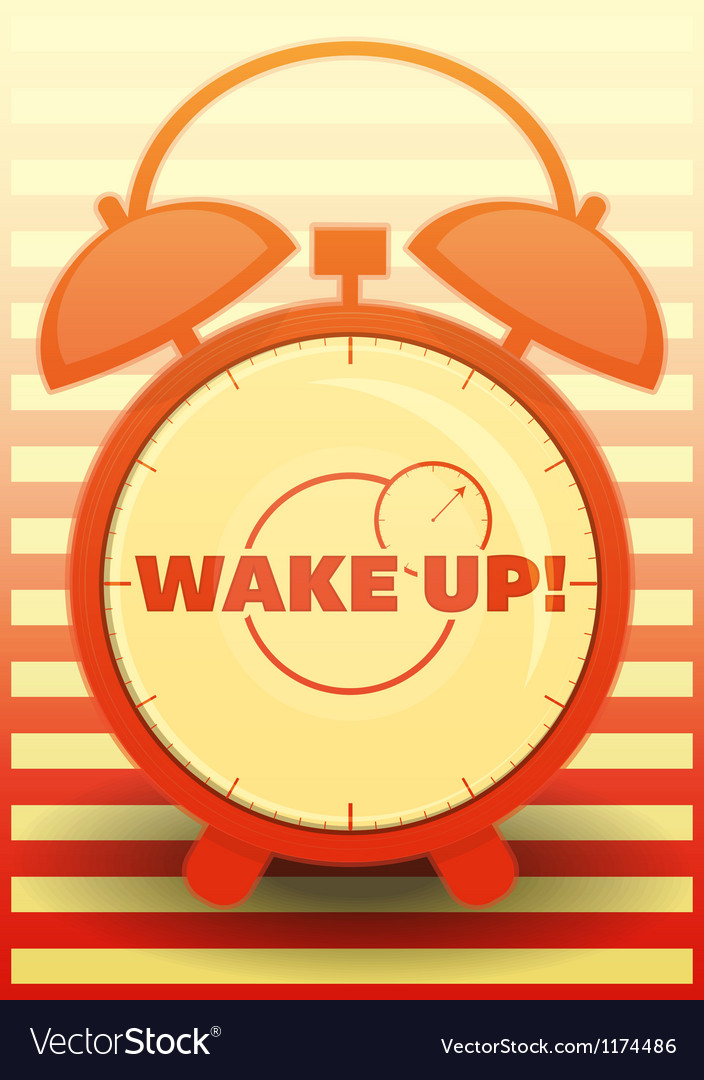 Orange alarm clock with text wake up vector | Price: 1 Credit (USD $1)
