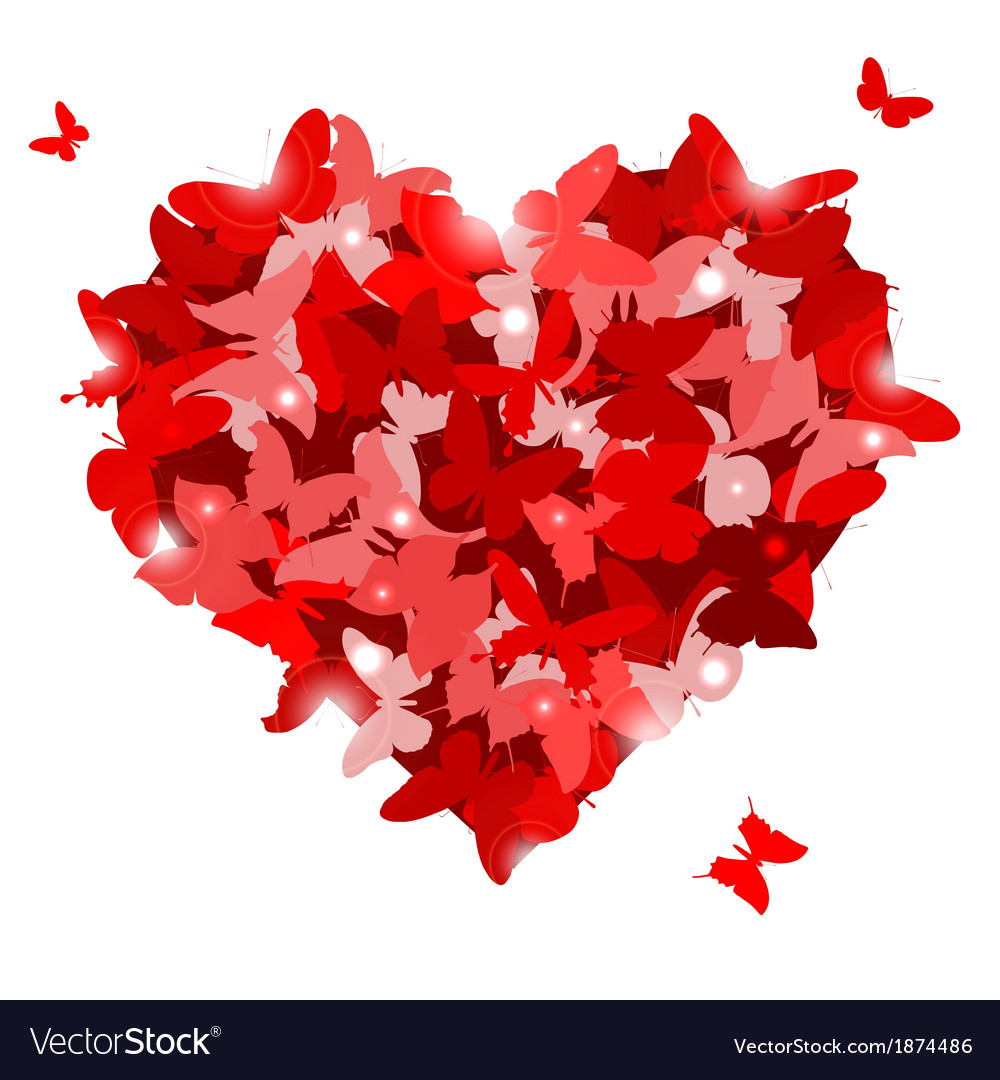 Red heart with butterflies for valentines day love vector   Price: 1 Credit (USD $1)