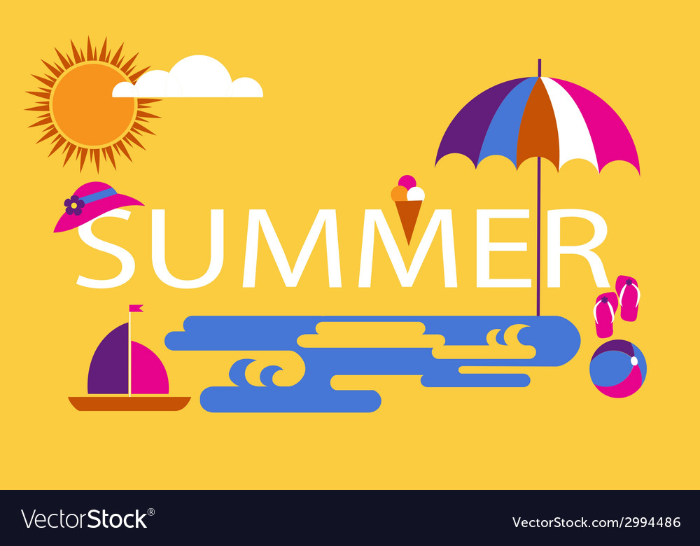 Summer time seasonal vacation at the beach vector | Price: 1 Credit (USD $1)