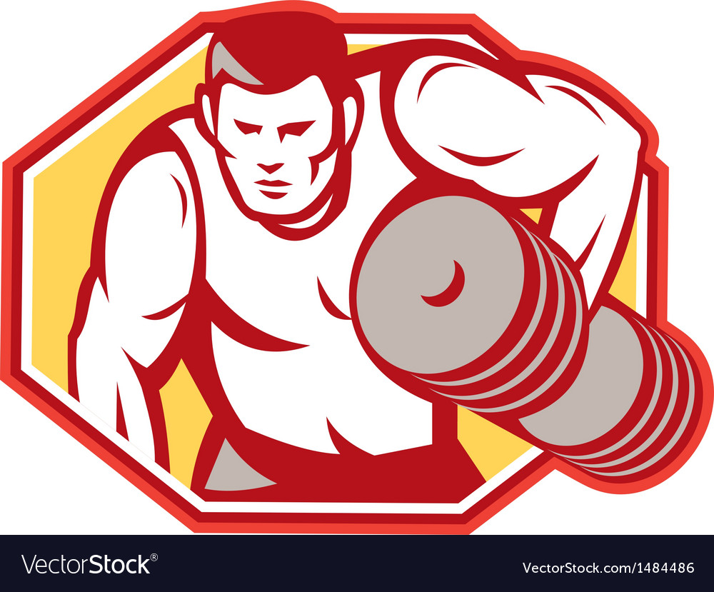 Weightlifter lifting weights retro vector | Price: 1 Credit (USD $1)