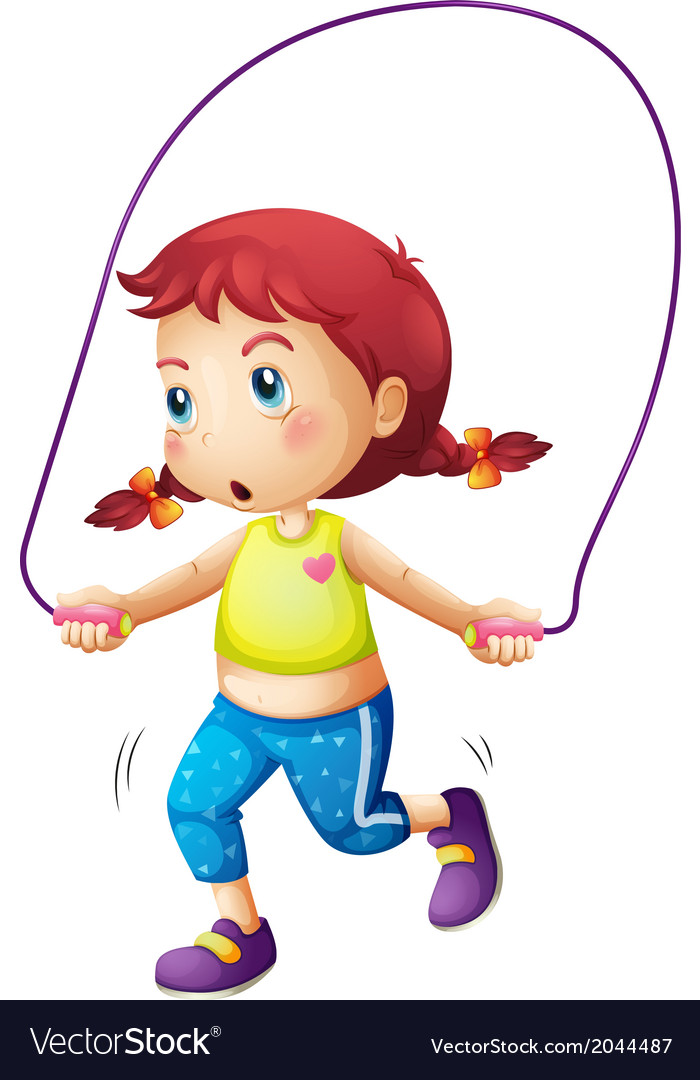 A cute little girl playing skipping rope vector | Price: 1 Credit (USD $1)
