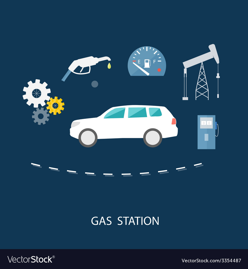 Car in gas station fuel petrol dispenser pump vector | Price: 1 Credit (USD $1)