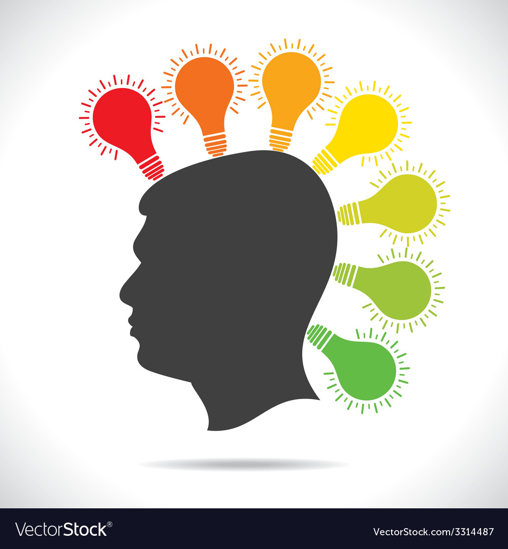 Colorful bulb glow on head of people vector | Price: 1 Credit (USD $1)