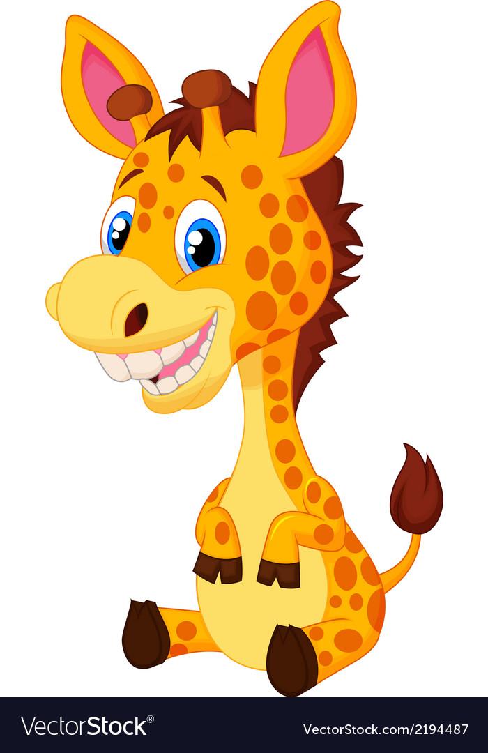 Cute giraffe cartoon vector | Price: 1 Credit (USD $1)