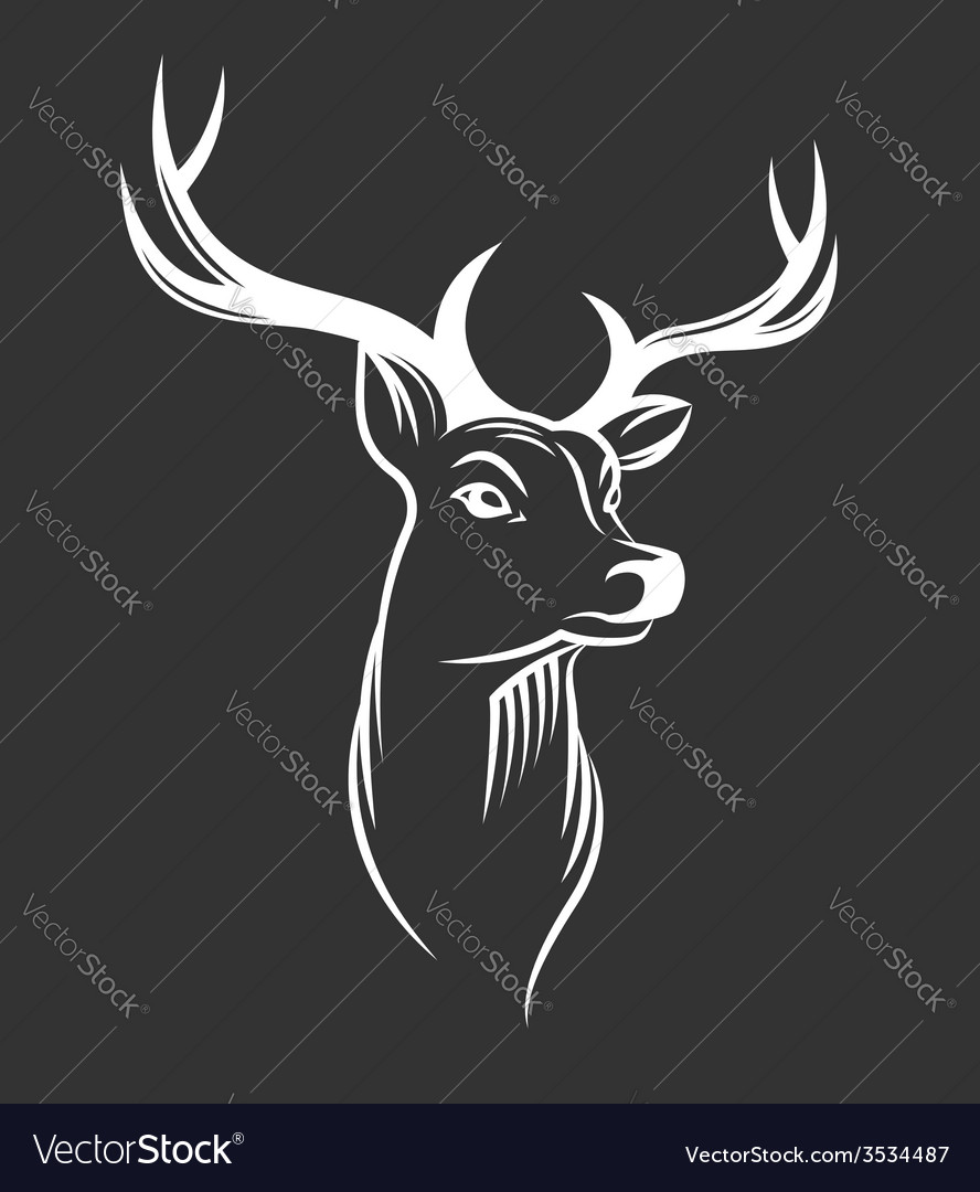 Deer head on black background vector | Price: 1 Credit (USD $1)