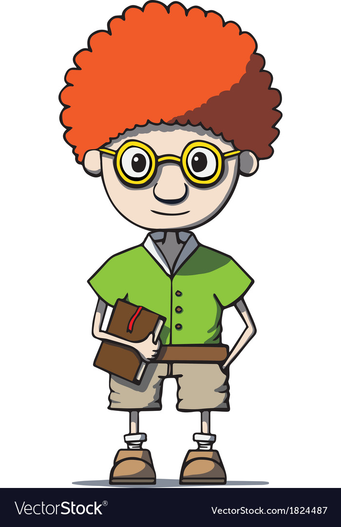 Funny cartoon redhead nerd genius in glasses with vector | Price: 1 Credit (USD $1)