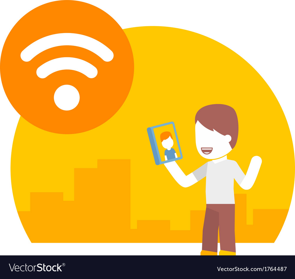 Man communicate with one another using the free wi vector | Price: 1 Credit (USD $1)