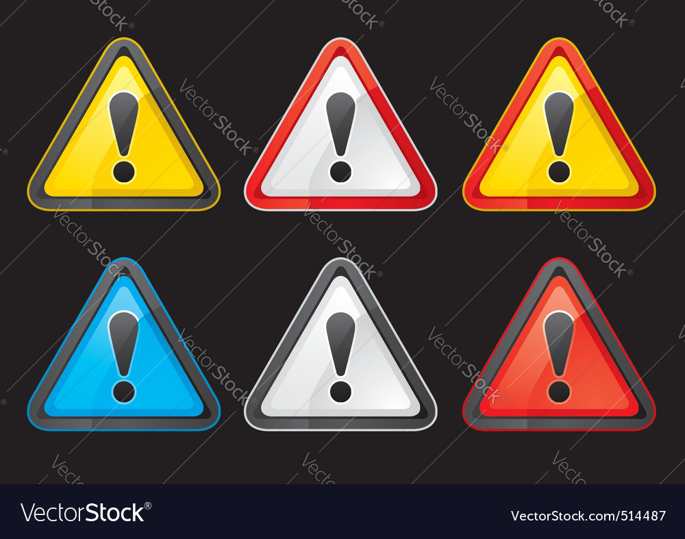Set hazard warning attention sign color vector | Price: 1 Credit (USD $1)