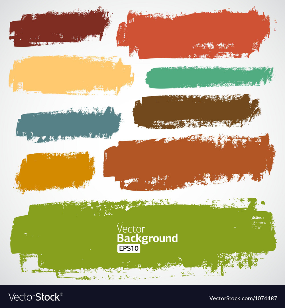 Set of grunge colorful brush strokes vector | Price: 1 Credit (USD $1)