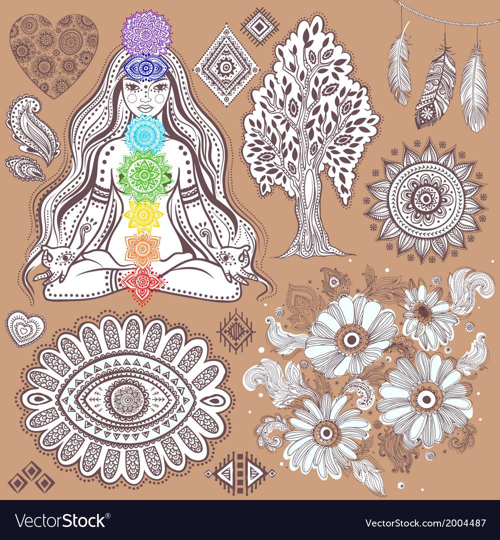 Set of ornamental indian symbols vector   Price: 1 Credit (USD $1)