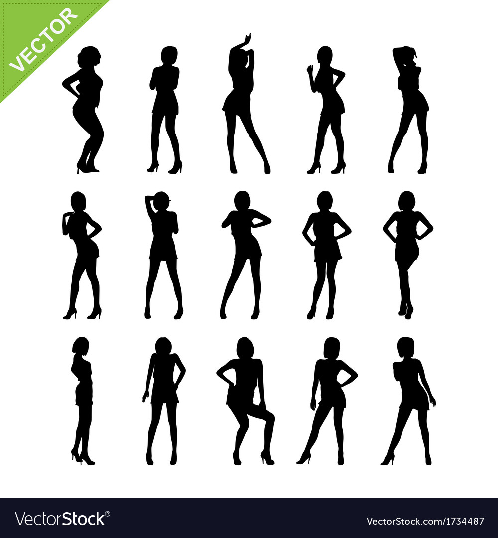 Sexy women and dancing silhouettes vector | Price: 1 Credit (USD $1)