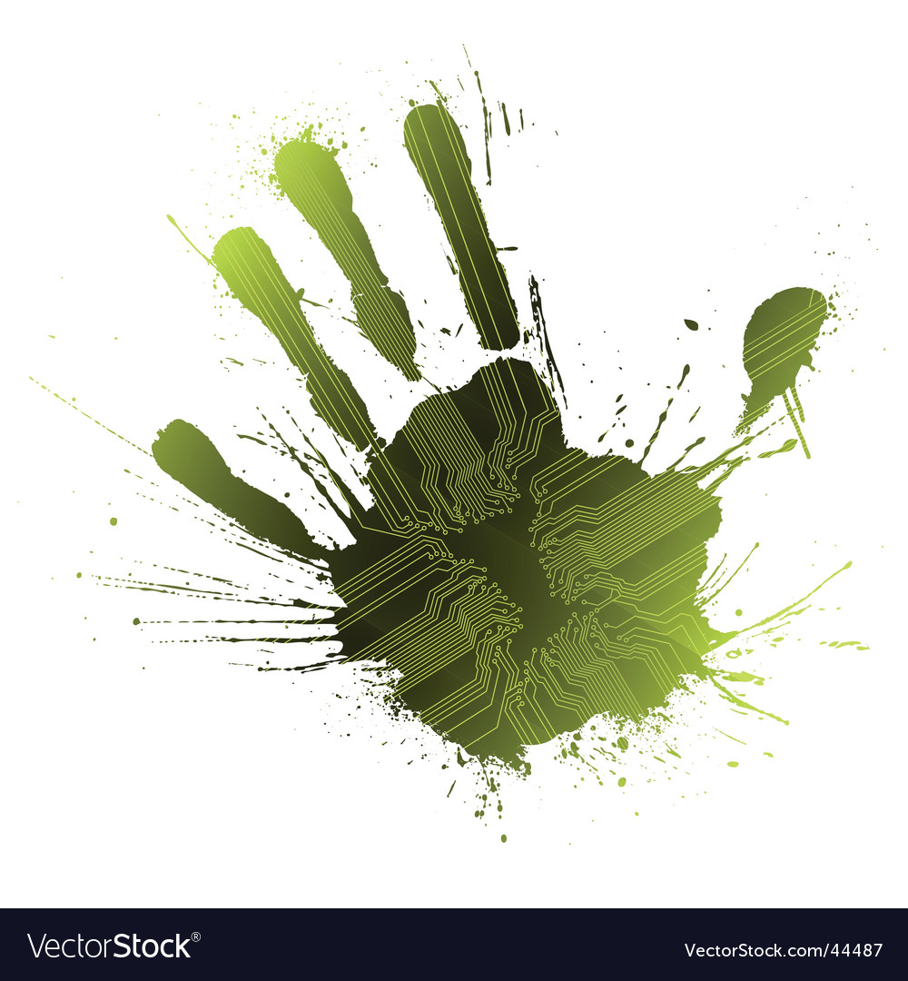 Technological green splatter handprint vector | Price: 1 Credit (USD $1)