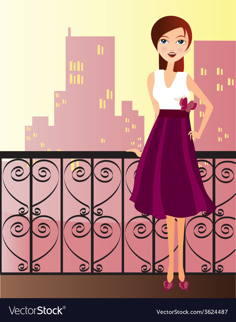Woman with dress vector | Price: 1 Credit (USD $1)
