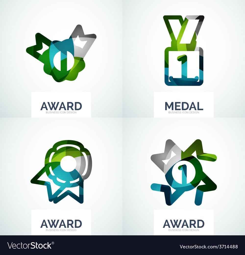 Colorful award business logo set vector | Price: 1 Credit (USD $1)