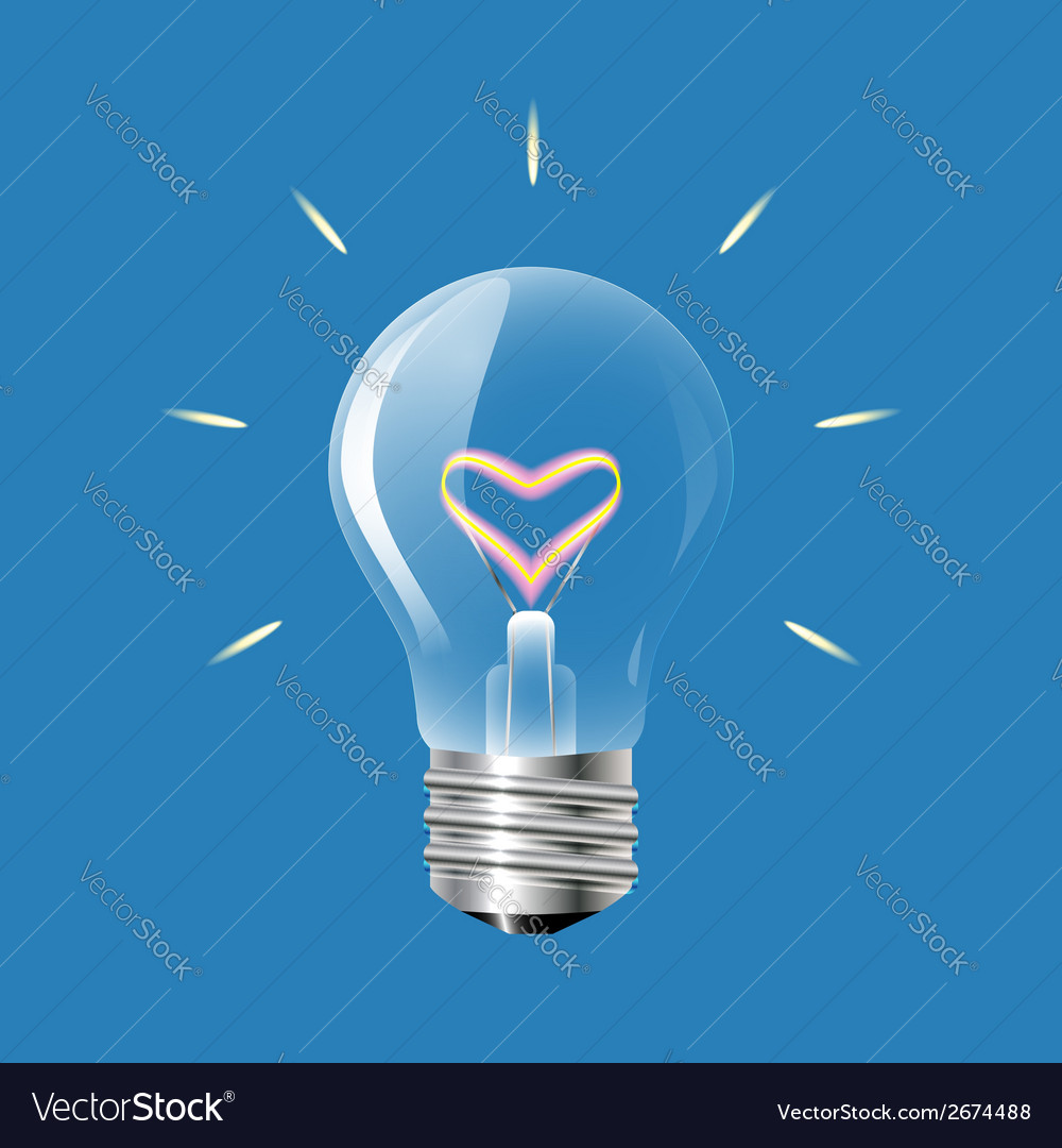 Concept of love in the form of light bulb on a vector | Price: 1 Credit (USD $1)