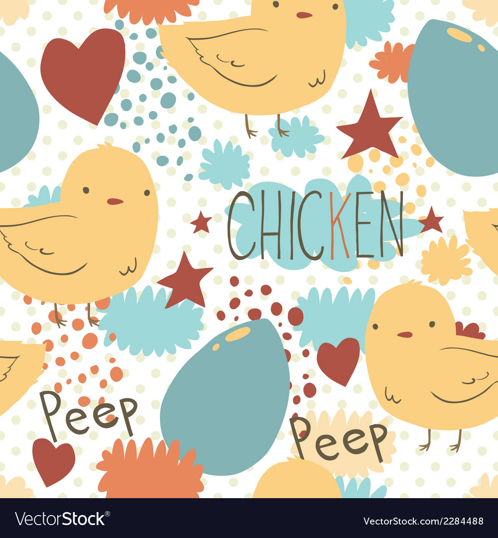 The cute little chicken seamless pattern vector | Price: 1 Credit (USD $1)