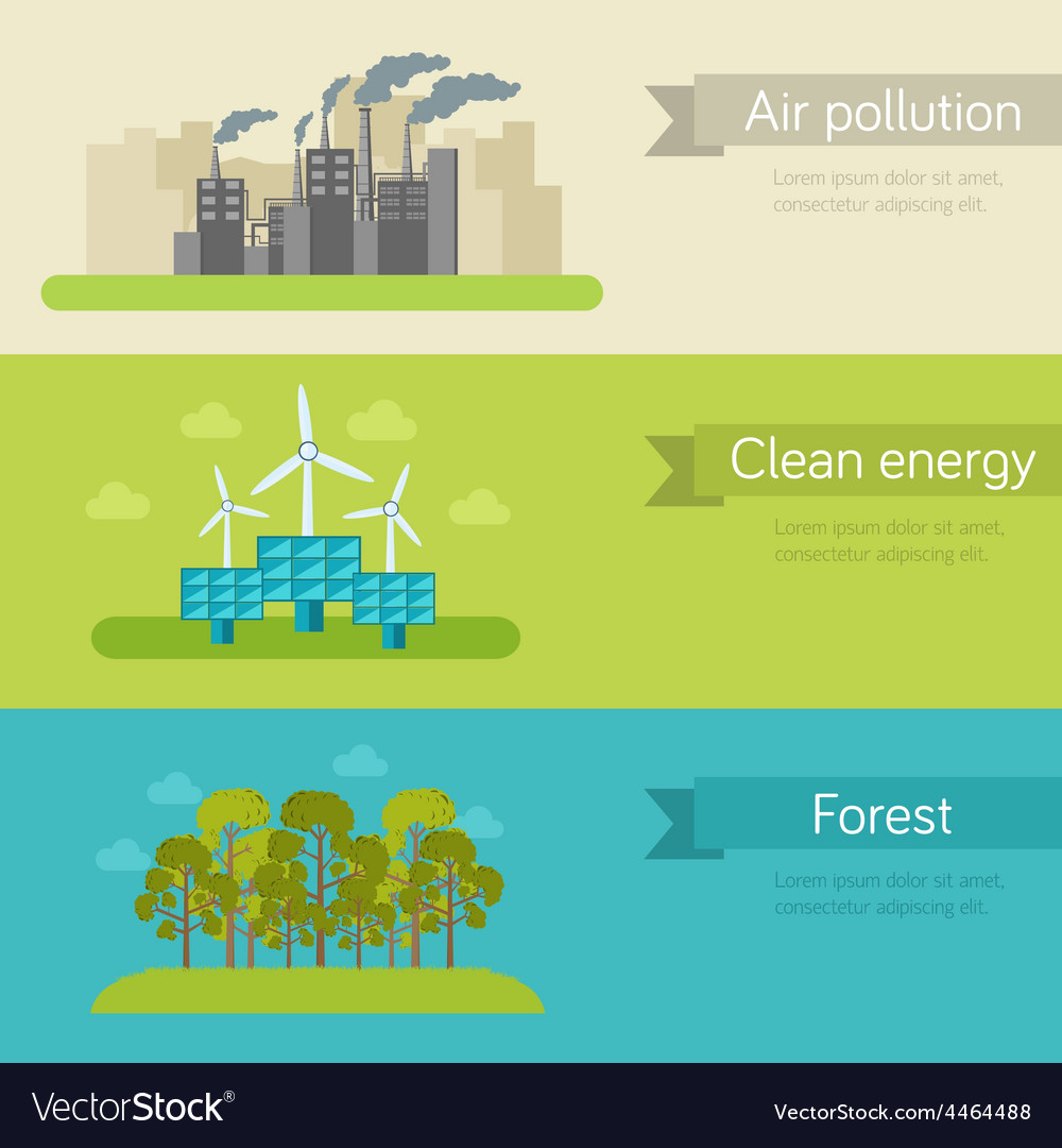Ecological horizontal banners vector | Price: 1 Credit (USD $1)