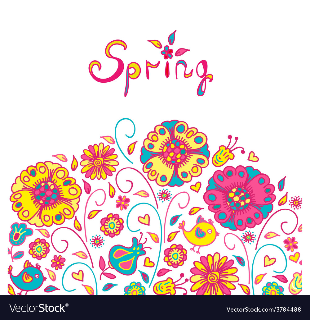 Figure spring flowers colorful background vector | Price: 1 Credit (USD $1)