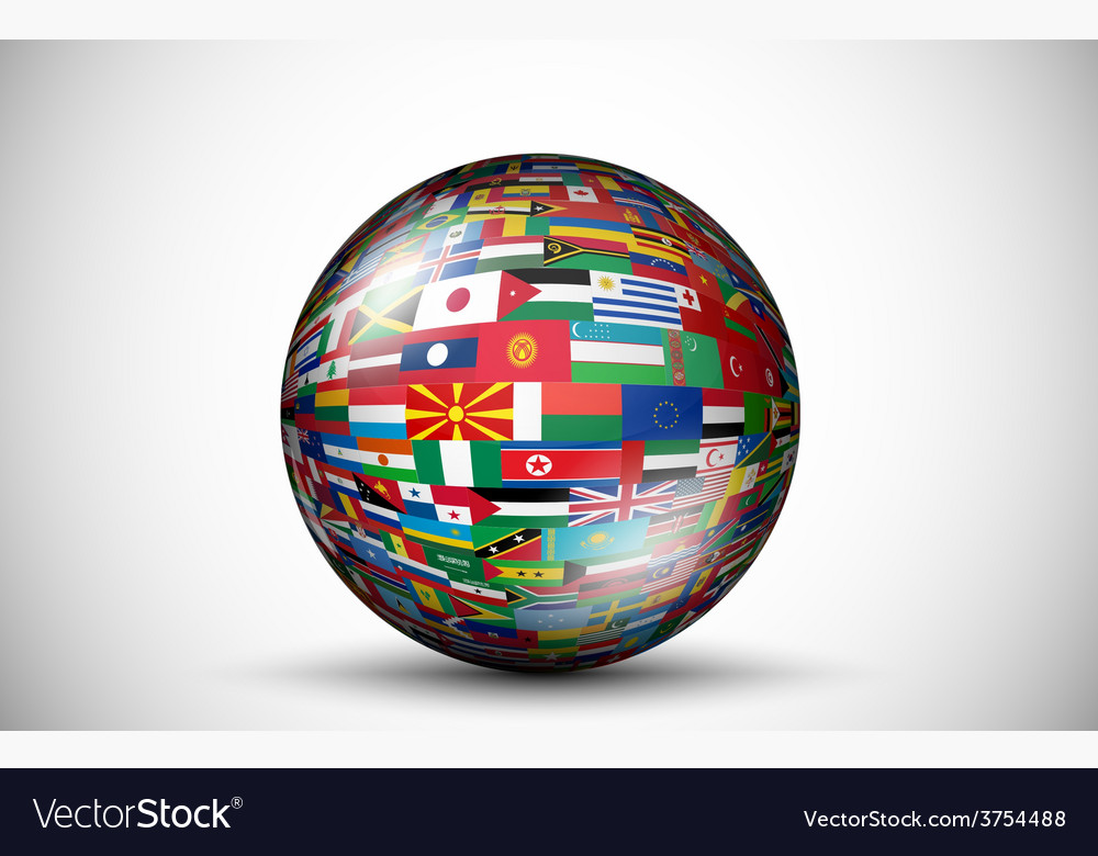 Flags of all countries in the form of 3d spheres vector | Price: 1 Credit (USD $1)