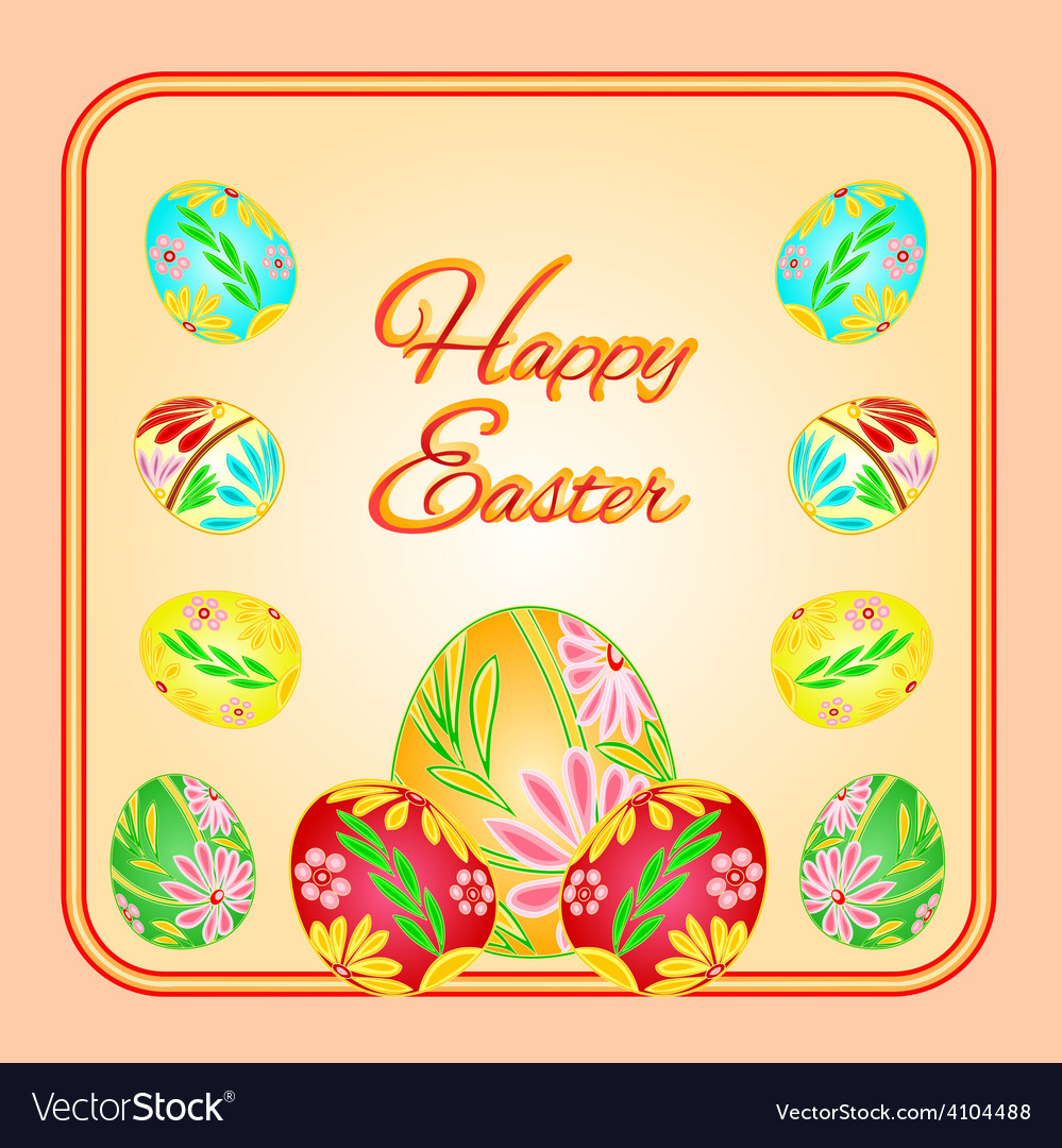 Frame with easter eggs spring background vector | Price: 1 Credit (USD $1)