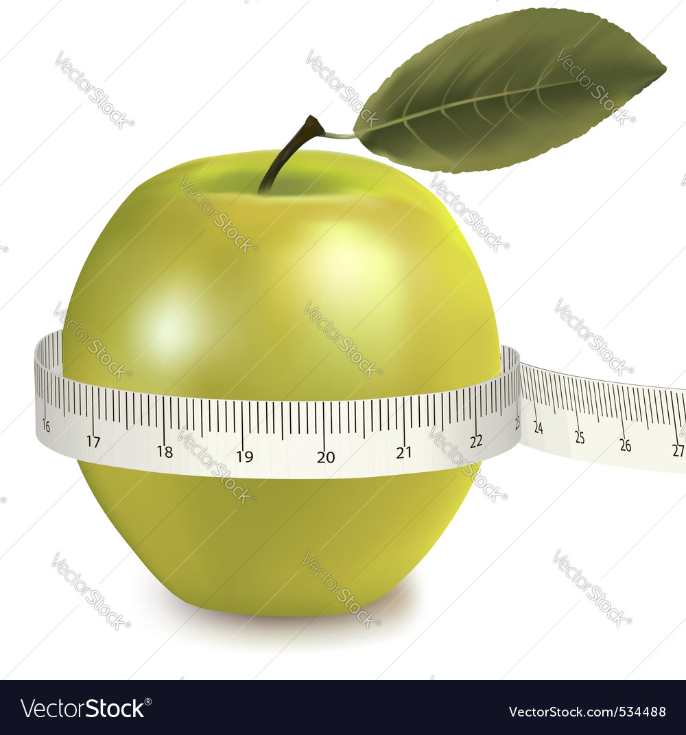 Green apple measured the meter vector | Price: 3 Credit (USD $3)