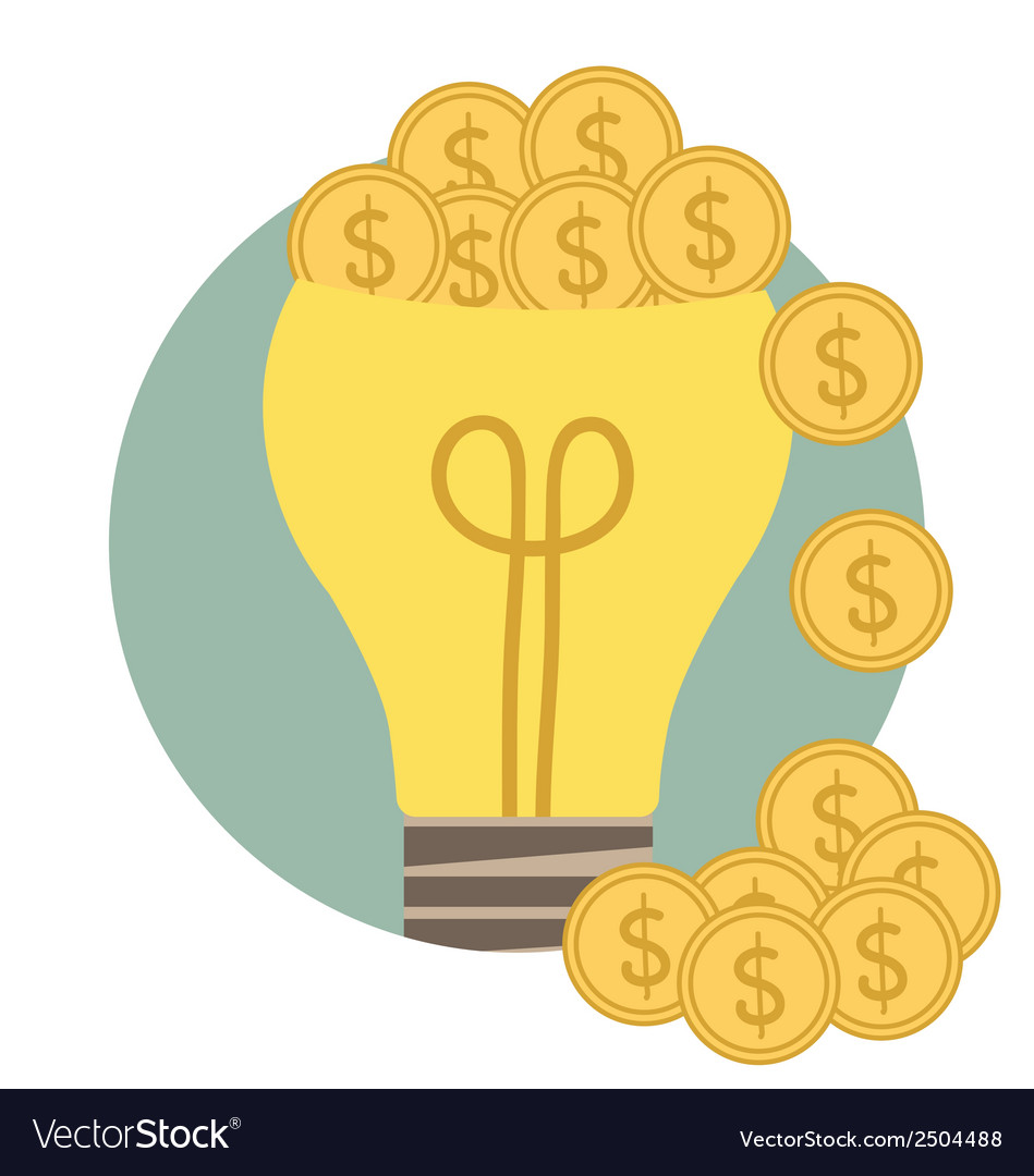 Light bulb with money coin modern flat design vector | Price: 1 Credit (USD $1)