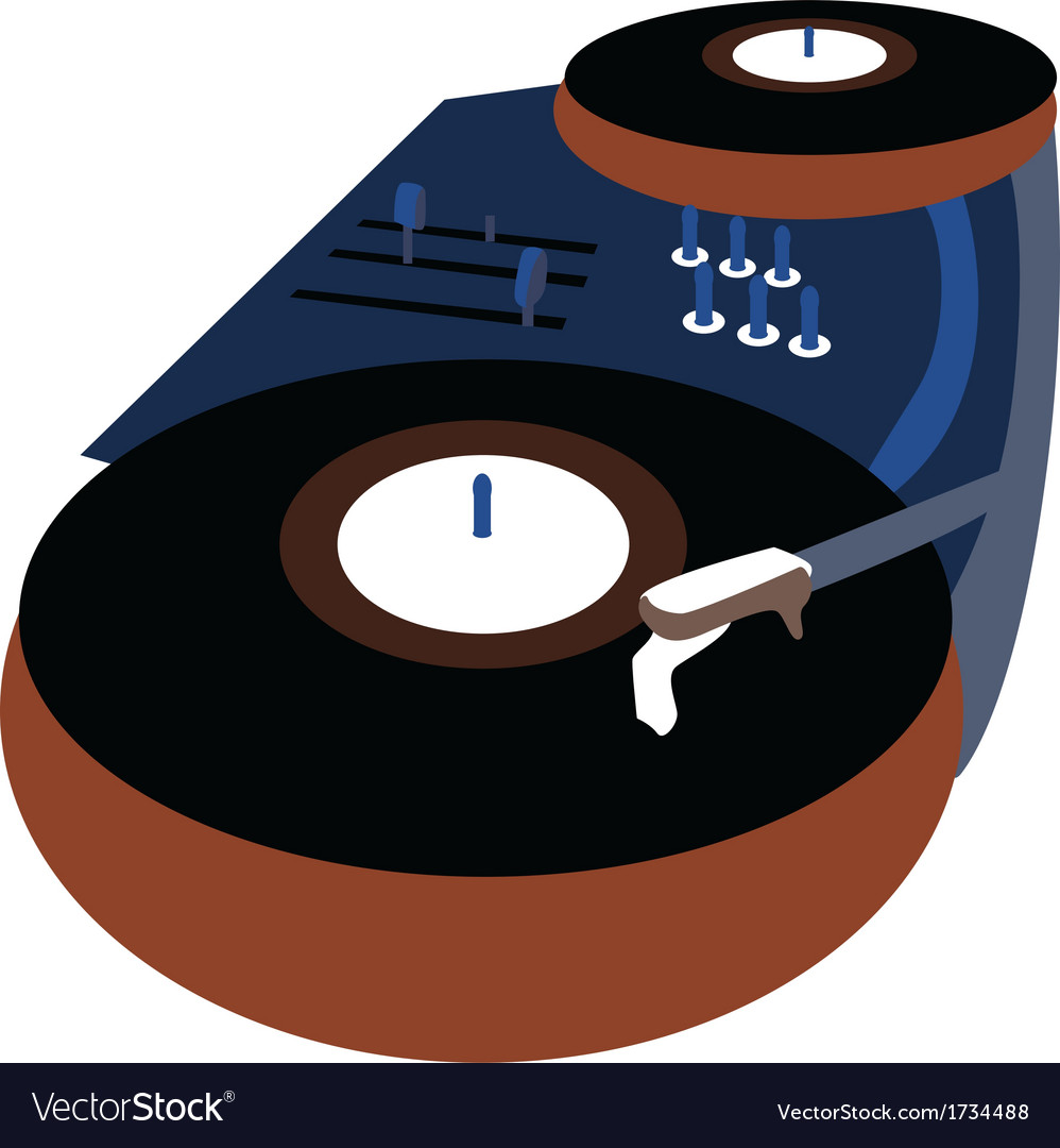 Music event poster with vinyl playing gramophone vector | Price: 1 Credit (USD $1)