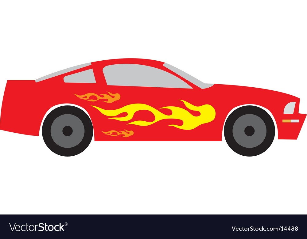 Race car with flames vector | Price: 1 Credit (USD $1)
