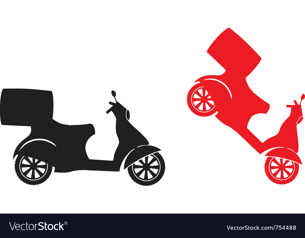 Scooter silhouette - fast delivery service symbol vector | Price: 1 Credit (USD $1)