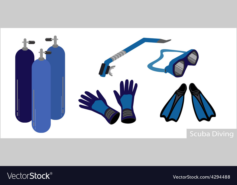 Set of underwater diving equipment on white vector | Price: 1 Credit (USD $1)