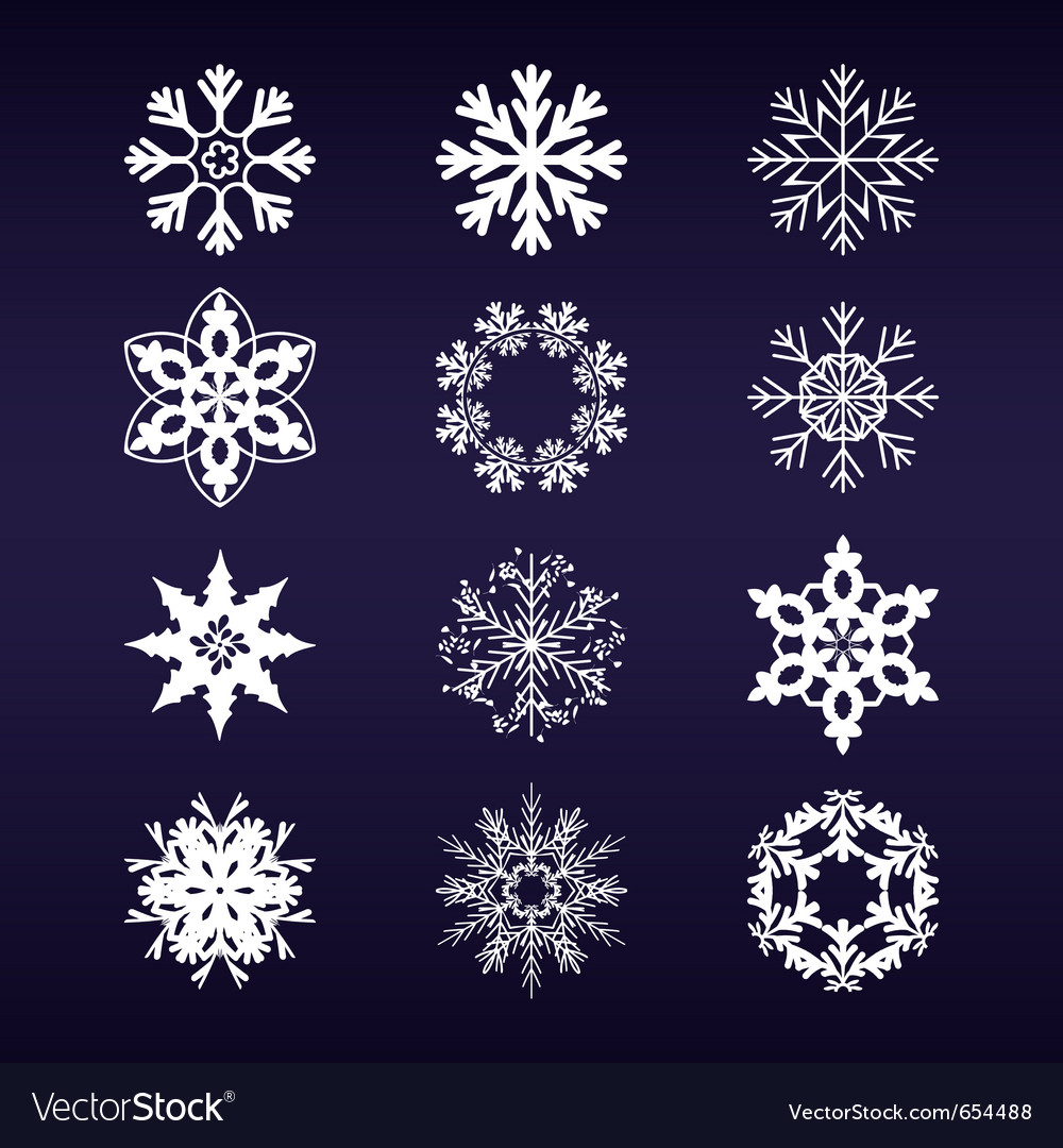 Snowflake winter set vector | Price: 1 Credit (USD $1)