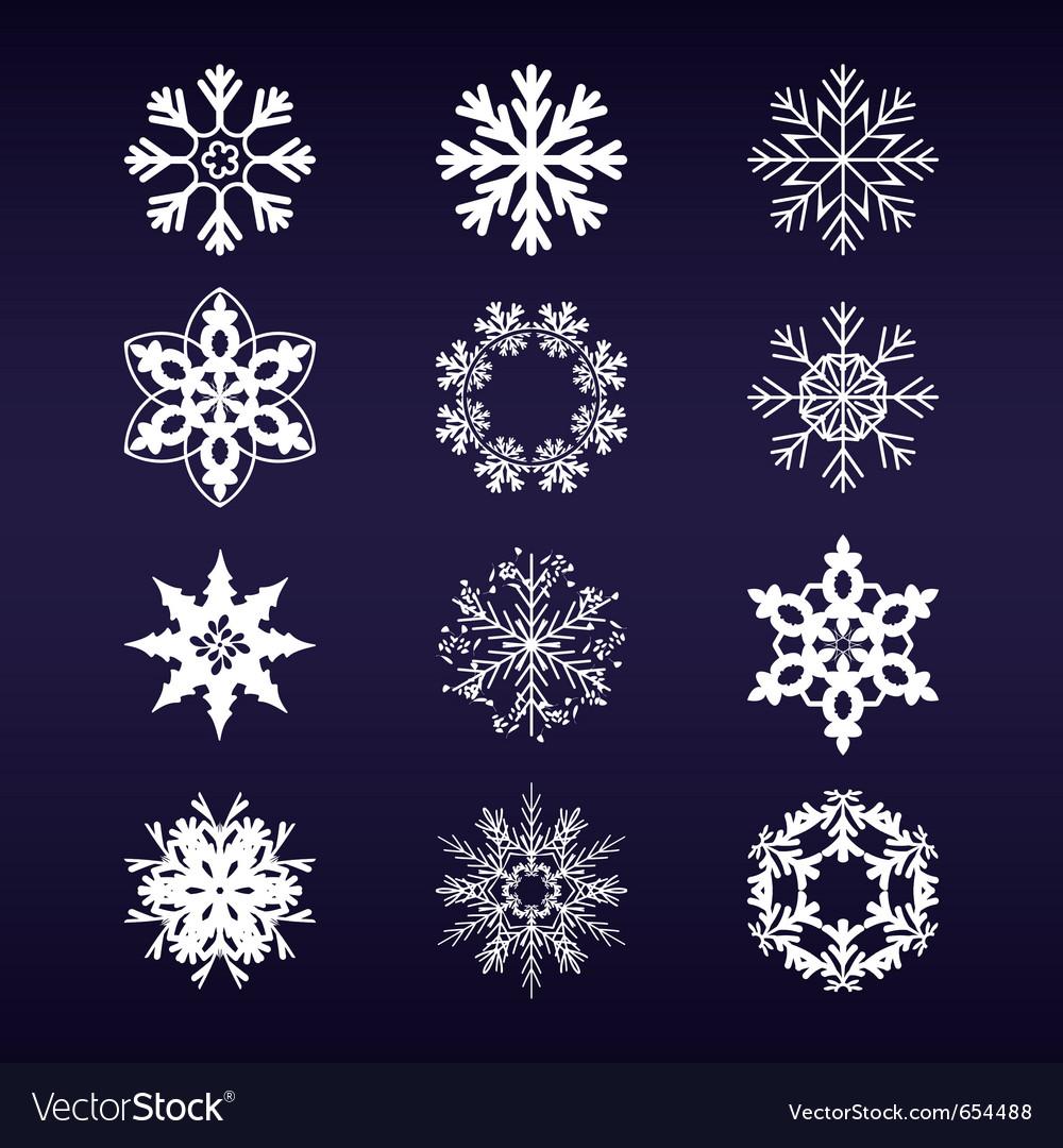 Snowflake winter set vector | Price: 1 Credit (USD $1)
