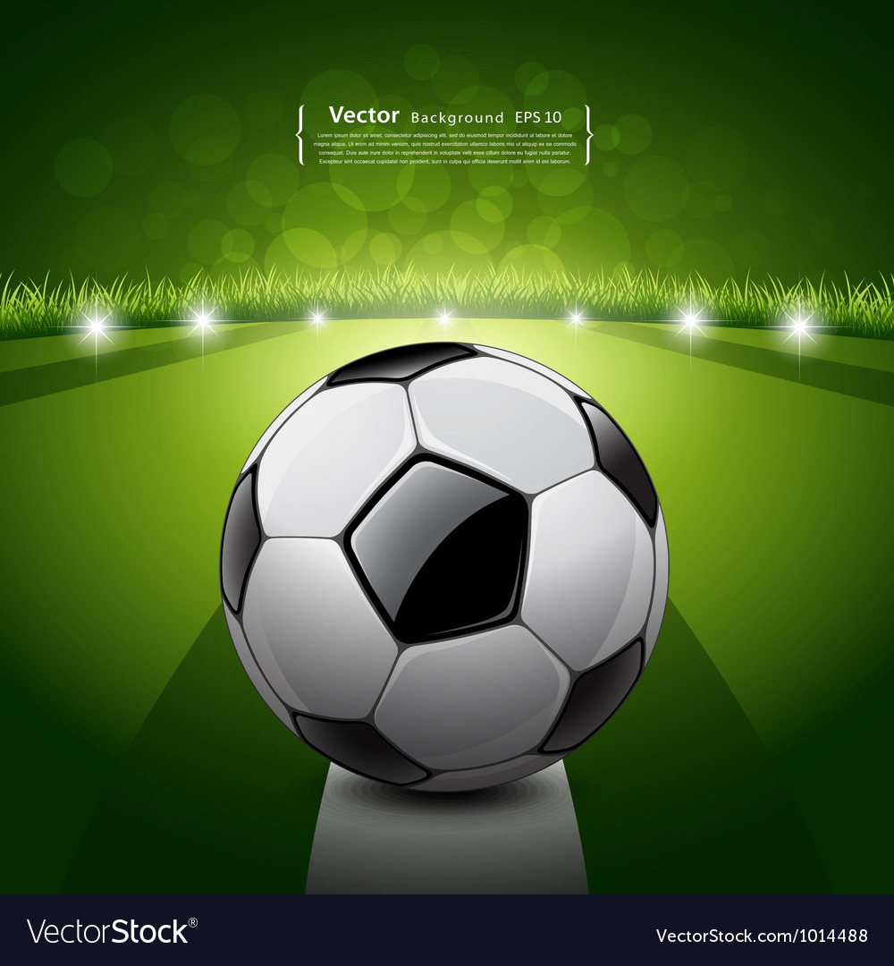 Soccer ball on green grass background vector | Price: 3 Credit (USD $3)