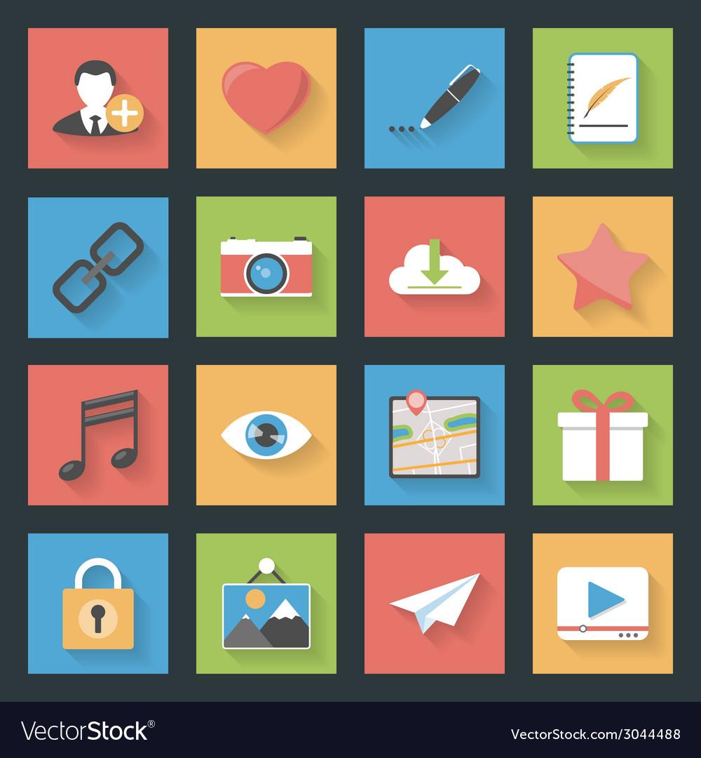Socia media web flat icons set vector | Price: 1 Credit (USD $1)